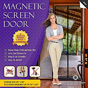 Magnetic Screen Door, Mesh Curtain - Keeps Mosquitoes Out - Full Frame Velcro - Toddler and Dog Friendly - Fits Doors Up To 34 - Inch By 82 - Inch MAX