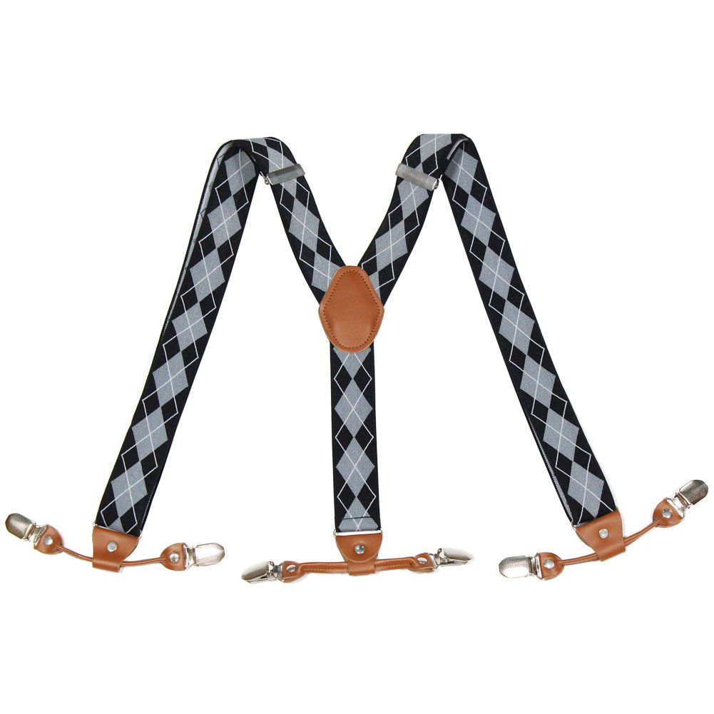 Suspenders for Men Big and Tall Check Patterned Elastic Pant Straps Adjustable Clip Suspenders Braces for Both Casual and Formal Y Shape Design Fashion Dress Suspenders Clothes Accessories Great Gift