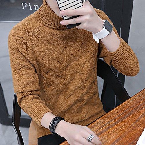 Manica Dolcevita Uomo Alto Maglia Guiran Da Lunga Collo Sweatshirt Maglione Marrone Pullover w4qxIgY