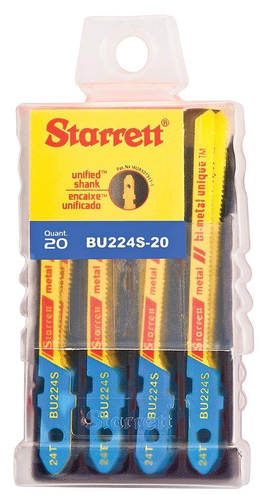 Starrett BU224S-20 Bi-Metal Unique Unified Shank Metal Cutting Jig Saw Blade, Scroll Tooth, 0.040'' Thick, 24 TPI, 3'' Length x 3/16'' Width (Pack of 20) by Starrett