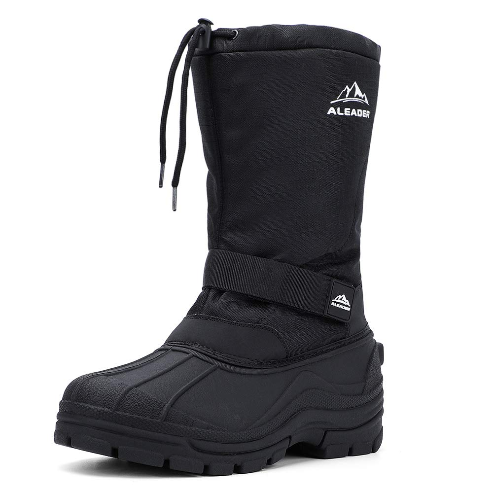 ALEADER Winter Boots for Men, Waterproof Snow Boots Hiking Shoes Black 9 D(M) US by ALEADER
