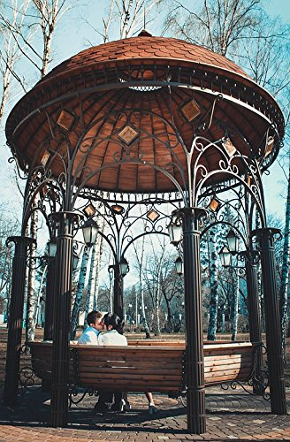 Home Comforts Peel-n-Stick Poster of Kissing Couple Building Architecture Gazebo Poster 24x16 Adhesive Sticker Poster Print