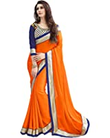 Tryme Fashion Women'S Georgette Saree With Blouse Piece (Try.Fab Saree 191_Orange)