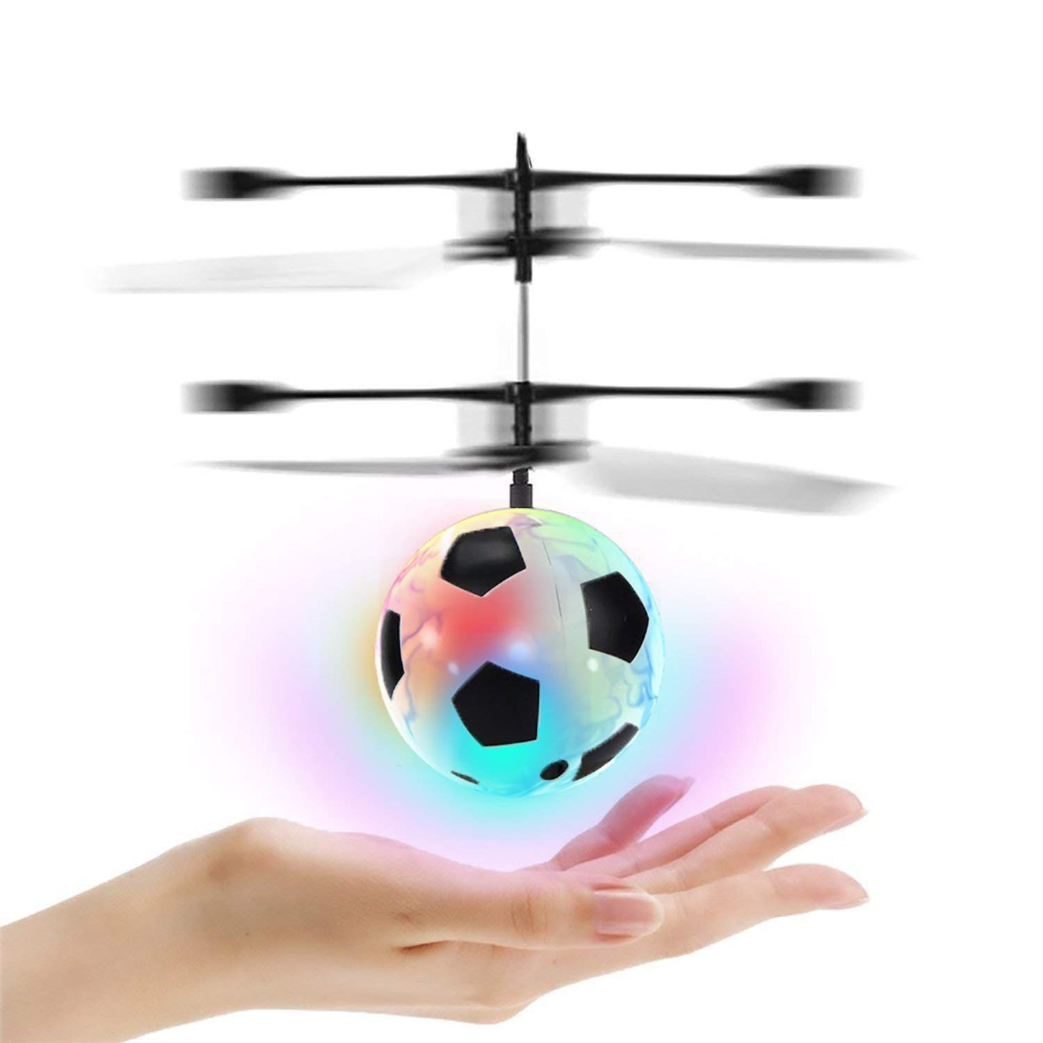 RC Flying Ball Football Helicopter Ball with Rechargeable Light Up Ball Drone Infrared Induction Helicopter with Remote Controller for Indoor and Outdoor Games Electronic Toy Gift for Kids Boys Girls Teenagers Adults ONMET