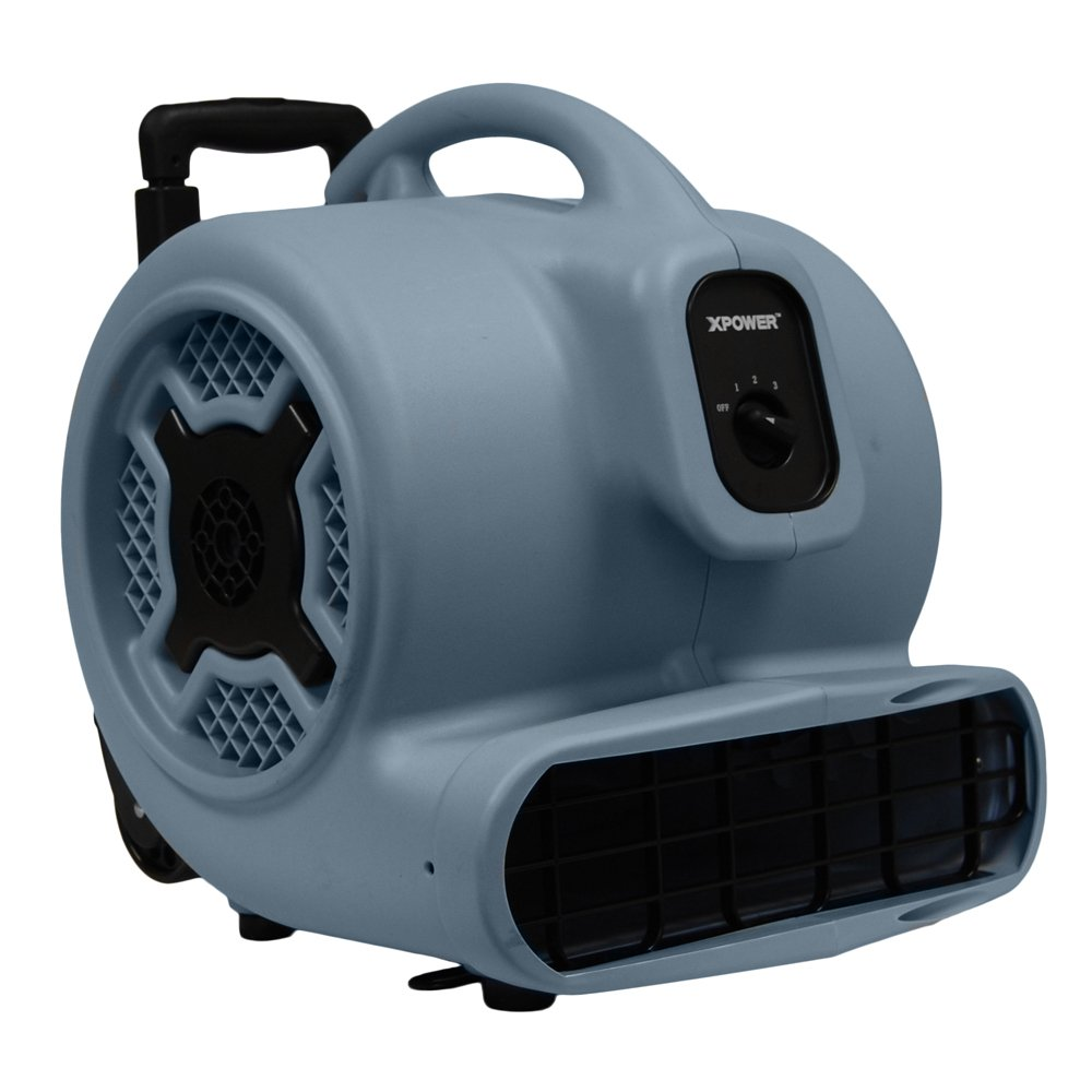 XPOWER P-800H 3/4 HP 3200 CFM 7.5-amp 3 Speeds Professional Air Mover with Telescopic Handle and Wheels