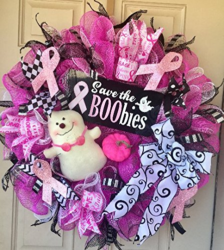 Breast Cancer Awareness and Halloween Wreath All-in-one October Month, &quotSave the Boobies&quot Metal Sign, Adorable Plush Ghost, Pink Pumpkin