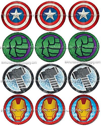 Amazon com: Marvel's Avengers Icon Licensed Edible Cupcake