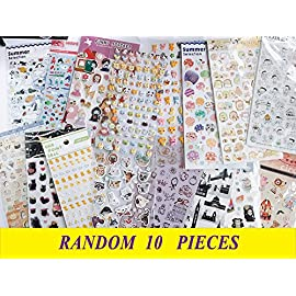 10 Pieces Best Value Choice of Colorful Cute Animal Pattern Calendar Reminder Diary Stickers- Cat, Deer, Bear, Penguin, Japanese, Chicken, Bunny, Cartoon, Kitty, Teachers, Book Scrapping