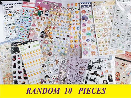10-Pieces-Best-Value-Choice-of-Colorful-Cute-Animal-Pattern-Calendar-Reminder-Diary-Stickers-Cat-Deer-Bear-Penguin-Japanese-Chicken-Bunny-Cartoon-Kitty-Teachers-Book-Scrapping