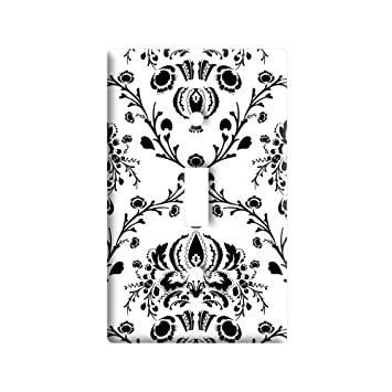 Damask Elegant Black White - Plastic Wall Decor Toggle Light Switch Plate Cover  sc 1 st  Amazon.com & Damask Elegant Black White - Plastic Wall Decor Toggle Light Switch ...