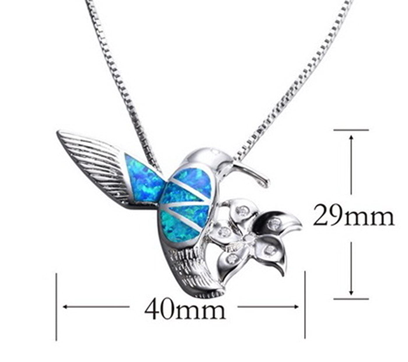 Fortonatori Created Blue Opal Bird Necklace 925 Silver Pendant Necklace 18 Chain