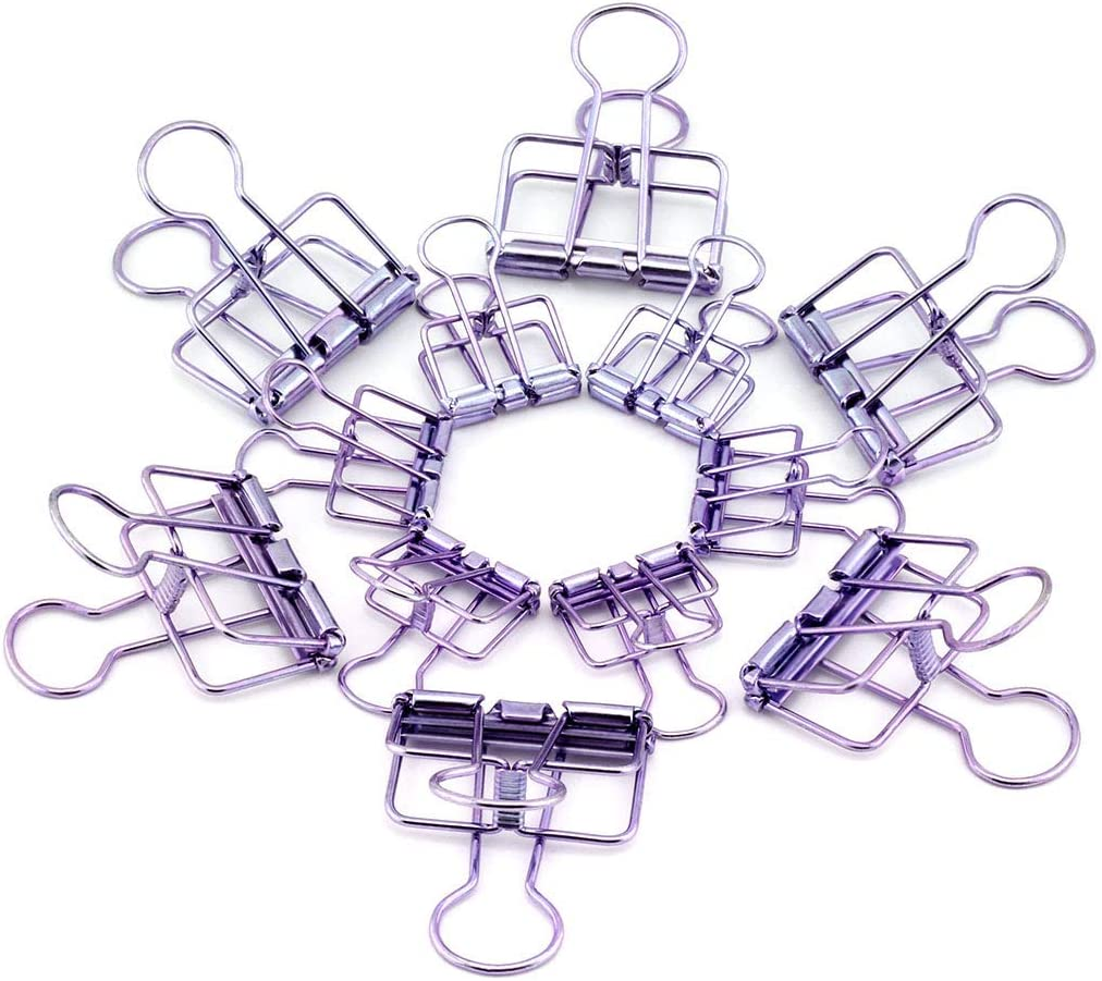 RuiLing 40-Pack Multi-purpose Metal Wire Binder Clip Set,20pcs 2.25 Inch & 20pcs 1.57 Inch Paper Metal Clips,for Home Office Supplier School Accessories - Purple