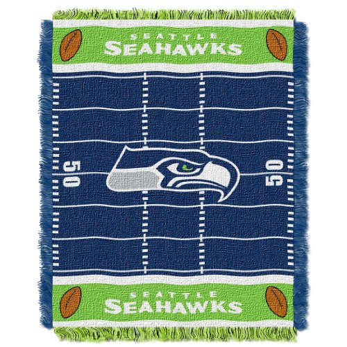 (The Northwest Company Officially Licensed NFL Seattle Seahawks Field Bear Woven Jacquard Baby Throw Blanket, 36