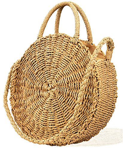 Rattan Purse Handle (Womens Summer Beach Straw Crochet Bags Handmade Round Crossbody Handbag)