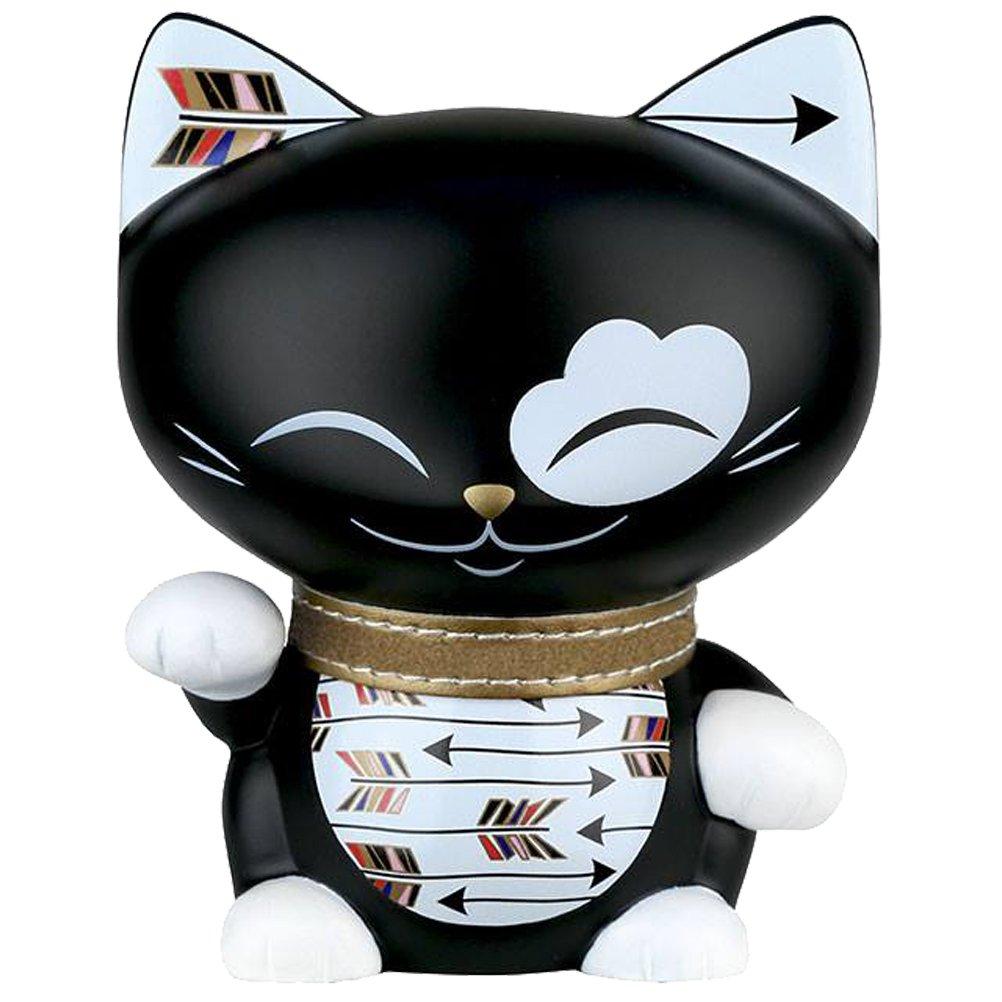 Chat porte bonheur maneki neko Mani the Lucky Cat 11cm noir collier dor/é