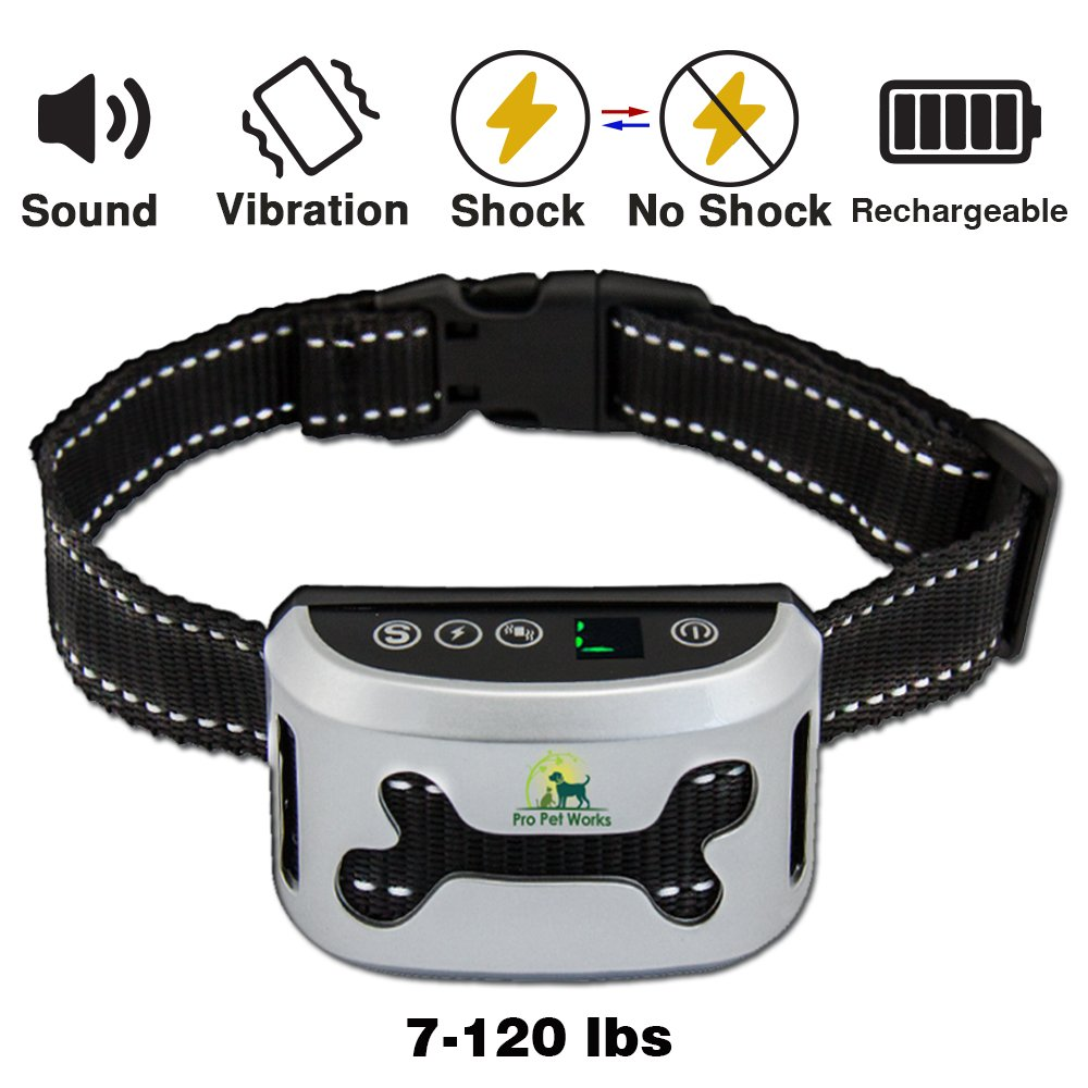 Pro Pet Works Bark Collar By [2018 SMART CHIP] No Bark Collar With VIBRATION And No Harm Static Shock-RECHARGEABLE Bark Control For Small Medium And Large Dogs