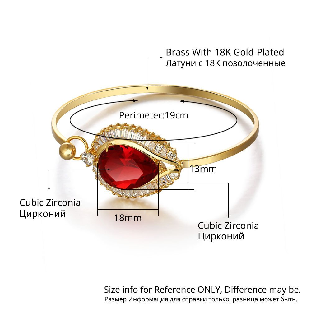 Bling Toman Charm Clasp Bangle Bracelet with A Faced Centre Red Stone Hold A Group of Zircon