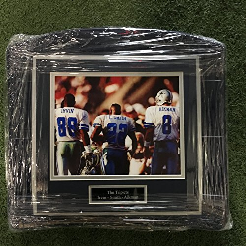 (Dallas Cowboys Texas Stadium Image On Seat Bottom framed photo of Famous Triplets Aikman)