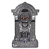 """Animated Halloween 20"""" Foam RIP Graveyard Tombstone Halloween Decorations with Great Sound Effect and Laughing Skeleton Face"""