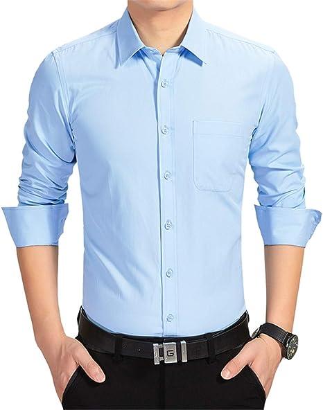 BOKlzZ Moda Ocio Simple Delgado, Azul Cielo, XXXL Camisa ...
