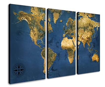 Amazon.com: Canvas World Map Wall Art Navy Blue Countries Labeled