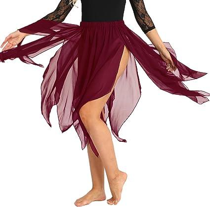 YiZYiF Falda Baile Latino Tango Salsa Mujer Falda Larga Asimétrica ...