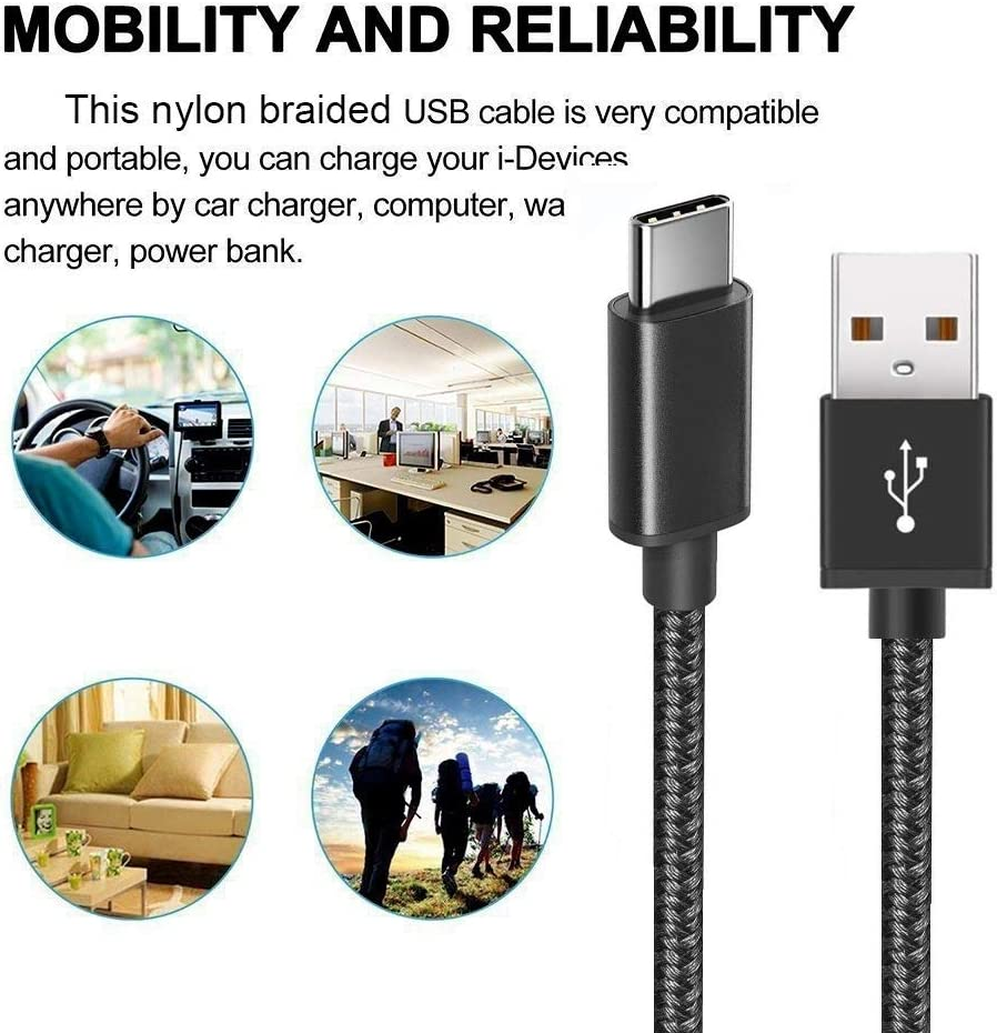 10ft USB Type C Cable SUPWISER Type C Charger 3pack Fast Charging Cable Nylon Braided Cord Aluminum Housing Compatible Samsung Galaxy S10 S9 Note 9 8 S8 Plus,LG V30 V20 G6,Google Pixel,HTC U11