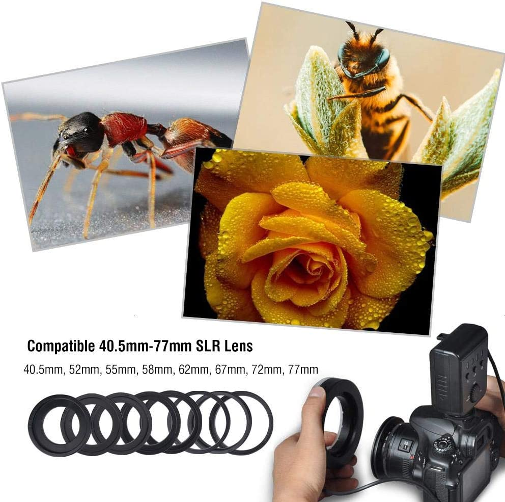 Yoidesu Ring Flash,48 Macro LED Ring Flash Light with Flash Diffusers,Adapter Rings for Canon Nikon Fuji Pentax Olympus and Other DSLR Cameras