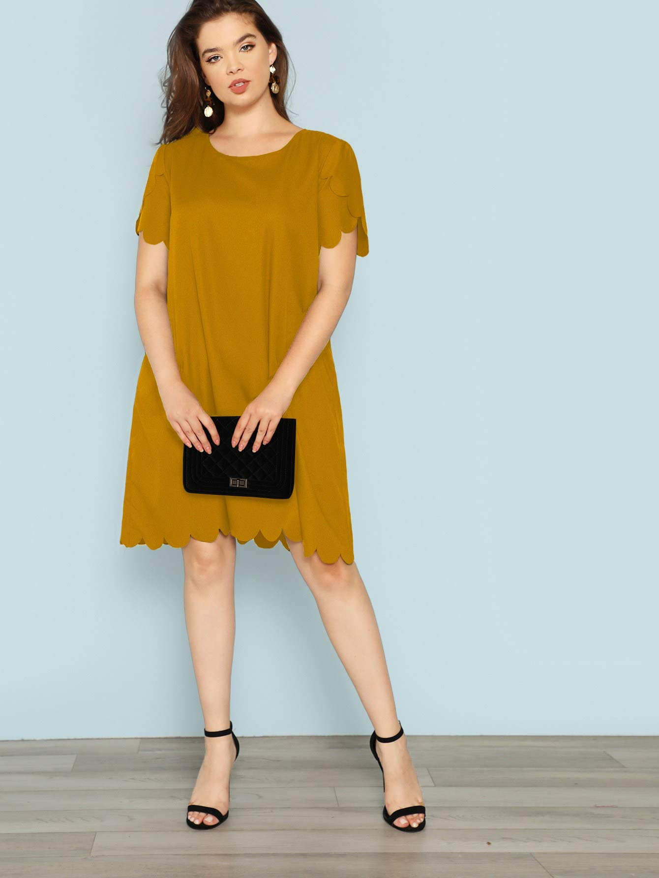 Romwe Womens Plus Size Solid Short Sleeve Scalloped Casual Loose Tunic Dress