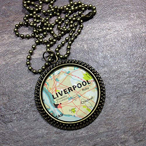 - Liverpool UK England CHILDWALL Europe Map Pendant Bronze Necklace VNTG Atlas GH-704