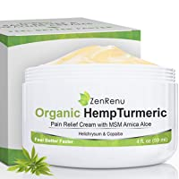 Organic Hemp Pain Relief Cream Large (4 oz) Value Size by ZenRenu - MSM Turmeric...