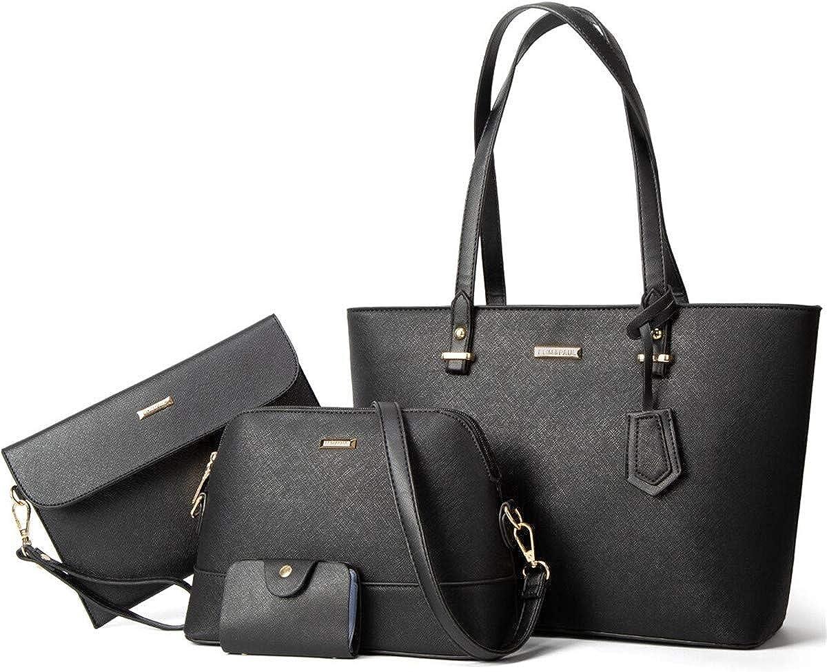 Women Fashion Handbags Tote Bag Shoulder Bag Top Handle Satchel Purse Set 4pcs
