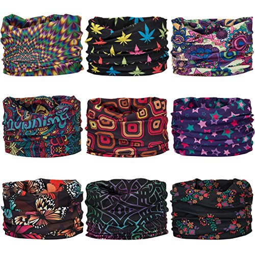 Wide Headbands Headwear Head Wrap Sport Sweatband for Men and Women,Workout,Yoga,12-in-1 12PCS/9PCS/6PCS Multifunction Magic - My Best Sunglasses For Shape Face