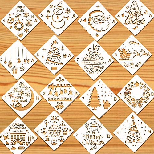 - Konsait 16Pack Christmas Stencils Templates, Reusable Plastic Craft Drawing Painting Template, Xmas Stencils for Greeting Cards, Albums, Scrapbook, Notebook, Journal, Wall Art Wood, Face Cookie Home Decor
