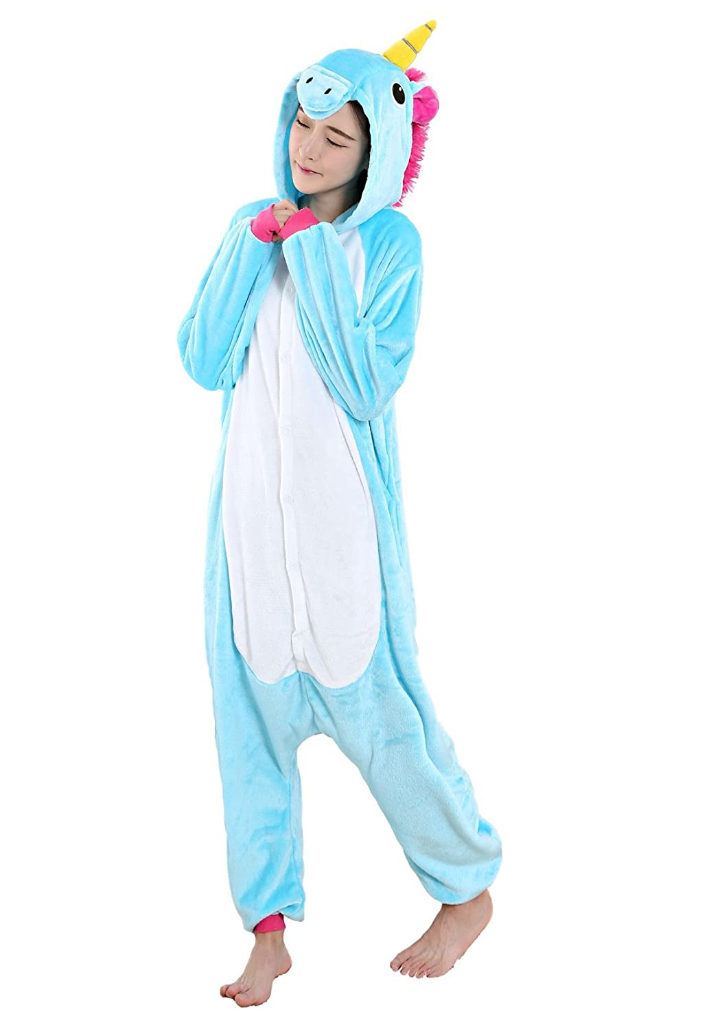 Nicetage Unisex Cartoon Animal Cosplay Halloween Costume Onesie Pajamas ukTianma-Blau-M