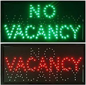 CHENXI VACANCY/NO VACANCY hotel motel LED store Open Sign neon Light room vacant Switch chain 48 X 25 CM (48 X 25 CM, green+red)
