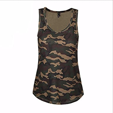 6dfbfa21e2978 Image Unavailable. Image not available for. Color: Women O-neck Striped Tee  Camo Army Green Tank Tops Sleeveless Girl T-shirt