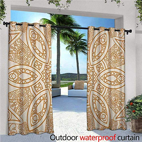 familytaste Beige Fashions Drape Ornate Ethnic Squared and Rounded Asian Eastern Texture with Dimensional Axis Artwork Outdoor Curtain Waterproof Rustproof Grommet Drape W120 x L108 Tan Cream