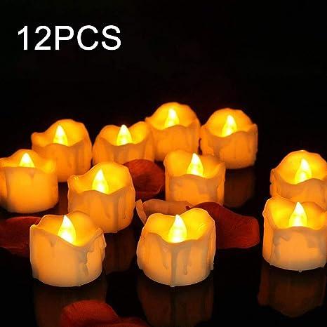 24//12Pcs LED Teelichter Timer Elektrische Kerzen Teelicht mit Batterie TeaLight