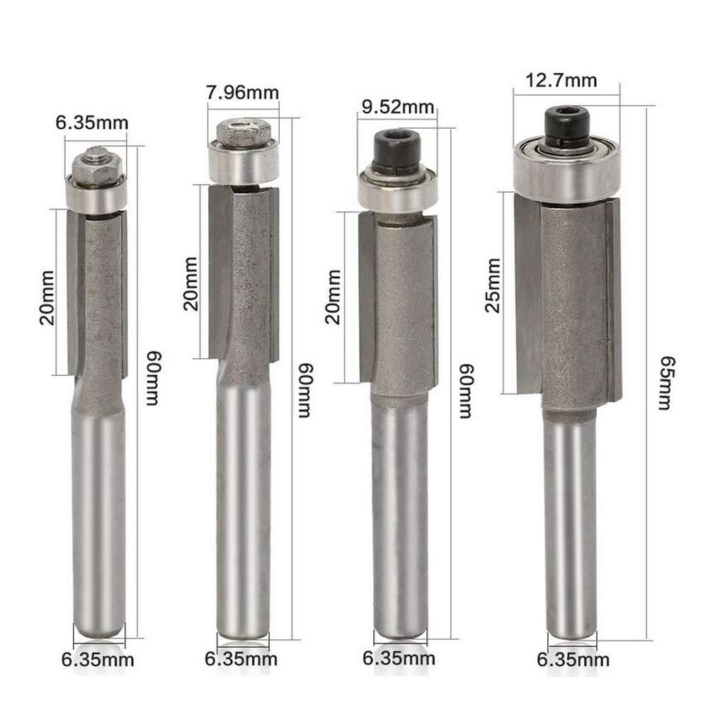 4pcs 1//4 Pulgadas V/ástago Rasante Plantilla Enrutador Bit Rodamiento Recorte Herramientas CNC