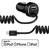 「AppleMFi認証」カーチャージャー Saxhorn 4.8A USBカーチャージャー ライトニングカーチャージャーUSBチャージャー USB車載充電器 シガーソケットチャージャー コイルケーブル付き 超小型 iPhone Phone 6S / 6S Plus, 6, 6 Plus, 5, 5S, iPad Air 2に対応