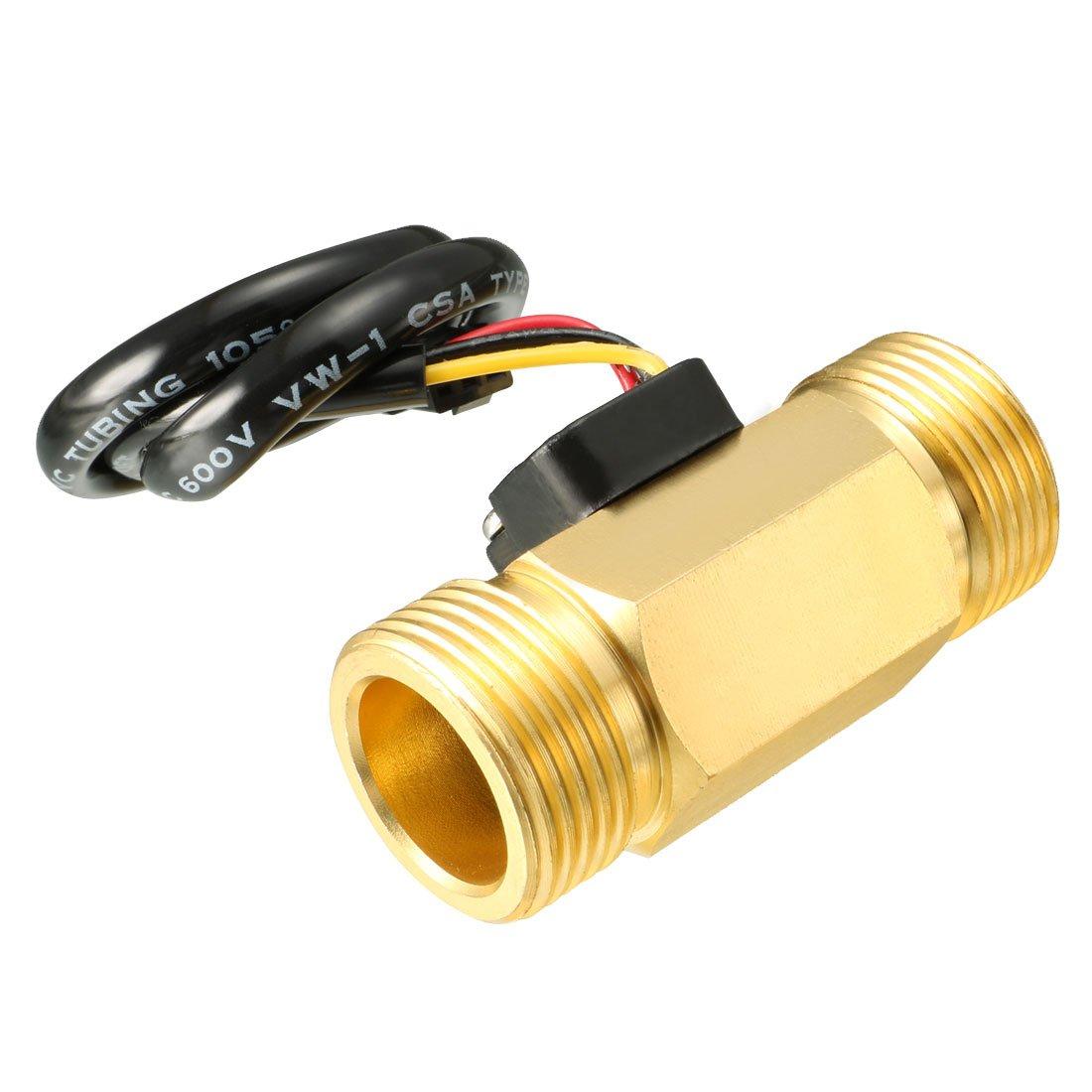 uxcell G3/4'' Hall Effect Liquid Water Flow Sensor Switch Flowmeter Meter DC 5V 2-60L/min SEN-HZ43WB