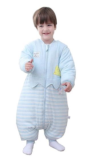 9dc19e3290962b Chilsuessy Baby Schlafsack mit Füßen und abnehmbar Langarm Winter  Schlafanzug Bio Baumwolle Winter Babyschlafsack Kinder Schlafsack für Junge  ...