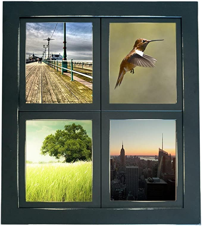 Window Pane Collage Picture Frame Black Multi Photo Frame With 4 Four 5x7 Openings 16x20 Finished Dimensions Hand Sanded Distressed Edges Amazon Co Uk Kitchen Home