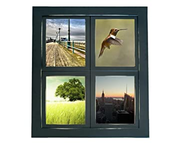 mybarnwoodframes lightly distressed collage windowpane 4 opening 5x7 picture frame black made - Window Collage Frame