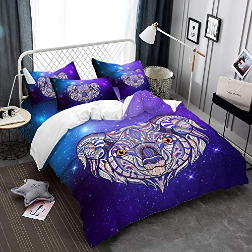 Oliven Quilt Cover King Size,Purple Koala Duvet Cover Set King Set,Comforter Cover Set Bedding Set King 3 Piece(1 Duvet Cover + 2 Pillowcases)