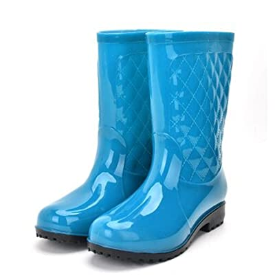 Luise Hoger Pvc Women Rain Boots Girls Ladies Rubber Shoes For Casual Walking Hunting Hunter Outdoor Mid-Calf Waterproof Female Low Heels Blue 10
