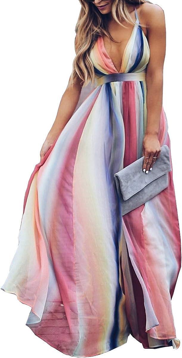Beuway Women's Summer Backless Striped Dress Colorful Dresses Beach Dress Deep V Sundress Rainbow Dresses Striped Dress