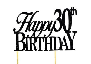 Amazoncom Black Happy 30th Birthday Cake Topper Kitchen Dining