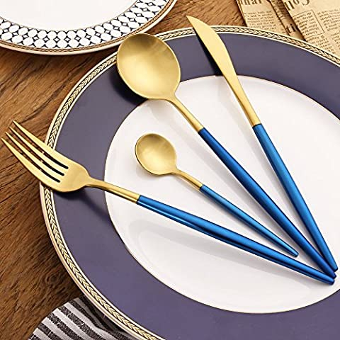 Besplore Stainless Steel Flatware,4-Piece Including Fork Spoons Knife Silverware Set,Blue & Golden - Damascus Medallion